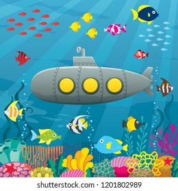 Cartoon submarine underwater landscape with coral reef and fish.