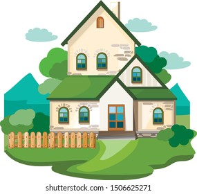 Cartoon suburban house with a green roof.