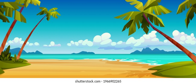 Cartoon summer beach, ocean or sea shore, paradise with yellow sand, palm and blue tranquil water. Vector landscape scenery, tourist holiday vacation place for rest. Seaside seashore, tropical trees