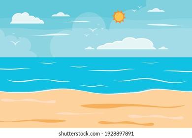 Cartoon summer beach, seaside natural vacation, tropical beach, seaside scenery background vector illustration