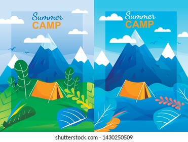 Cartoon Summer Camp Vertical Banner Template Set. Panoramic View on Highlands and Tent Pitched in Forest at Mountains Foot. Social Network Covers or Advertising Flyers. Vector Flat Illustration