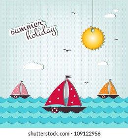 cartoon summer holiday background   - scrap elements