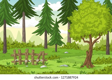 Cartoon summer landscape with fence, hand draw illustration