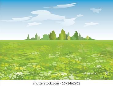 Cartoon summer landscape with flowering field. Vector illustration.