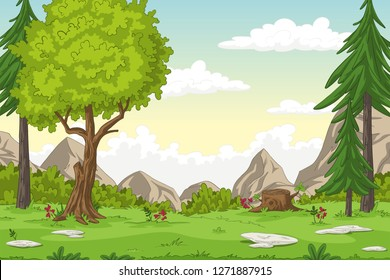 Cartoon summer landscape with mountains, hand draw illustration
