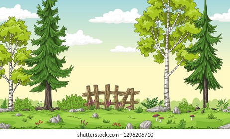 Cartoon summer landscape with trees and fence, hand draw illustration
