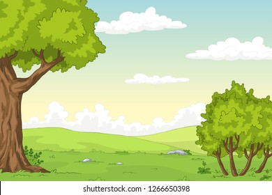Cartoon summer landscape with trees, hand draw illustration