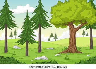 Cartoon summer landscape with trees, hand draw illustration