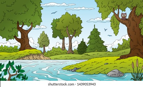 Cartoon summer landscape with trees, meadow and an owl