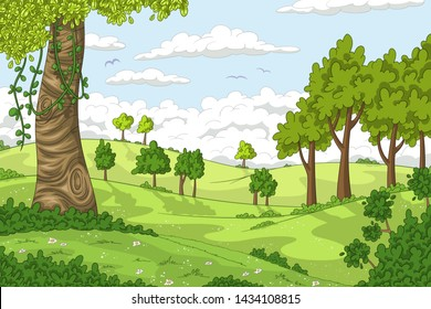 Cartoon summer landscape with trees. Vector illustration with separate layers.