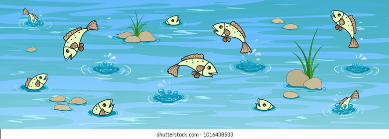 The cartoon summer pond with fishes