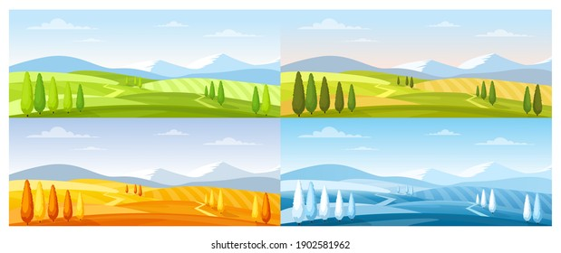 Cartoon summer spring autumn winter scenes with green grassland meadow, blue snow hills, yellow wild fields, panorama scenery background, Nature field landscape in four seasons