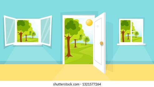Cartoon summer view. window and door view. Sunny day. Hill, clouds, sun, windowpane, windowsill, entrance, doorway, door knob. Open, closed window. Spring forest scene. Eps 10 vector illustration.