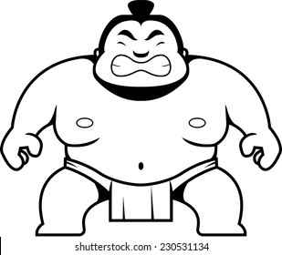 A cartoon sumo wrestler with an angry expression.