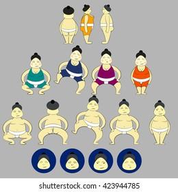 Cartoon Sumo wrestler icons.  Sumo wrestling, full-contact wrestling sport.   Sumo Championship set