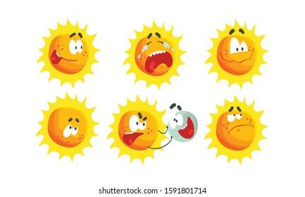 Cartoon Sun Expressing Different Emotions Vector Set