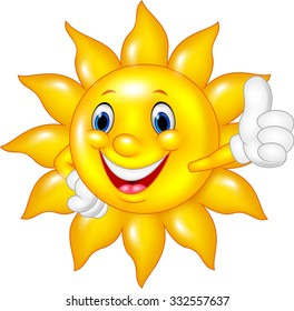 Cartoon sun  giving thumb up isolated on white background