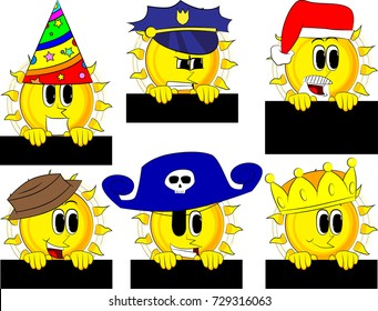 Cartoon sun holding blank black sign. Collection with costume. Expressions vector set.