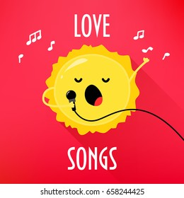 Cartoon sun with microphone sings love songs. Cute music card for karaoke album. Flat style. Vector illustration.