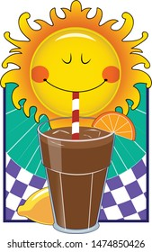 A cartoon sun sips ice tea from a straw.