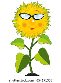 Cartoon Of The Sunflower On White Background Is Insulated