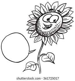 Cartoon sunflower speaking