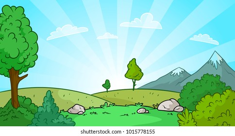 Cartoon sunrise nature landscape with mountains, snow and green grass vector background. Gift card.
