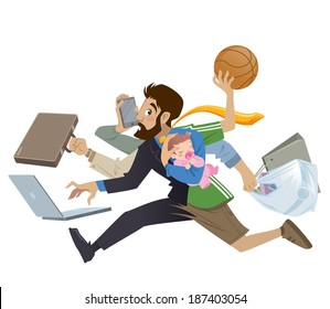 Cartoon super busy man and father multitasking, doing many works  running to the office shopping playing basketball working and talking on the phone while his baby girl sleeping