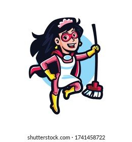 Cartoon Super Cleaning Service Mascot Logo