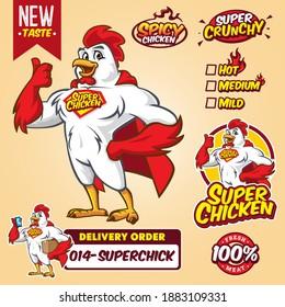 Cartoon super hero chicken mascot logo template