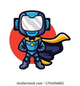 Cartoon Super Robot Mascot Logo