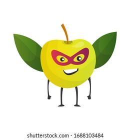 Cartoon superhero apple. Fruit in mask and cape