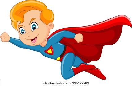 Cartoon superhero boy isolated on white background