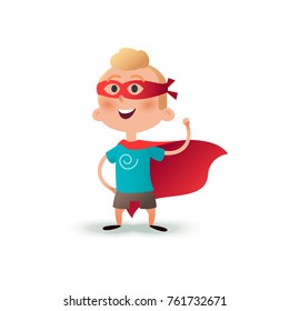 Cartoon superhero boy standing with cape waving in the wind. Happy little hero kid. Children character in red supermen cloak.