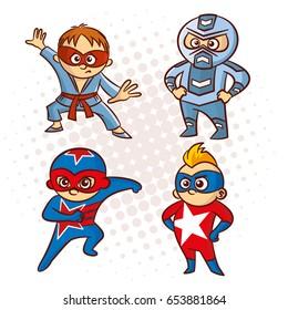 Cartoon Superhero Character Sticker, Vector Illustration