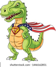 A cartoon superhero dinosaurs  mascot