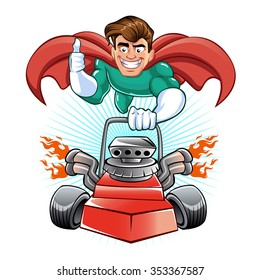 Cartoon superhero with lawn mower