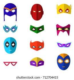 Cartoon Superhero Mask Color Icons Set Flat Style Design for Celebration Party or Holiday. Vector illustration of Heroic Costume Element