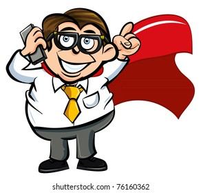 Cartoon superhero office worker with a mobile phone