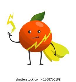 Cartoon superhero orange. Fruit in cape with hands
