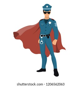Cartoon superhero policeman with red cape.