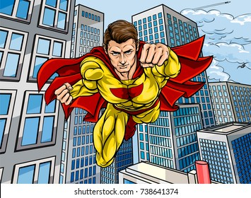 Cartoon superhero in a pop art comic book style flying over a city