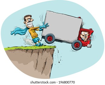 A cartoon superhero prevents a truck from driving off of a cliff.