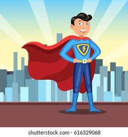 Cartoon superhero in red cape. Man in colorful hero costume on light city background. Vector illustration