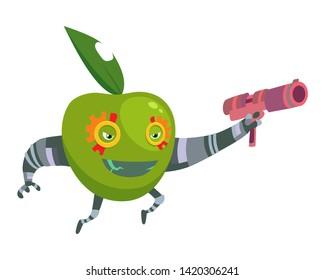 Cartoon Superhero Robot Character Green Apple with Gun Vegetarian Superpower Concept Element Flat Design Style. Vector illustration of Icon.