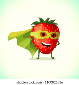 Cartoon superhero strawberry in green cape and green mask. Funny fruit and vegetable super hero. Vector illustration on white background.