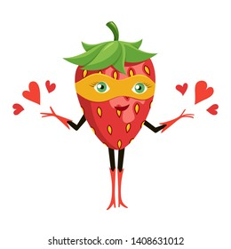 Cartoon superhero strawberry in orange mask. Funny fruit super hero. Vector illustration on white background.