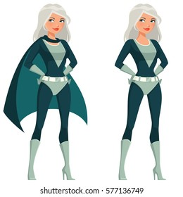 cartoon superwoman with silver hair strinking a heroic pose