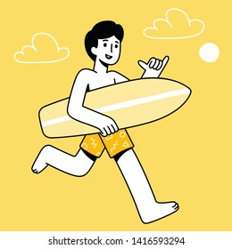 "Cartoon surfer dude running with surfboard making ""hang loose"" shaka hand gesture. Simple modern surfing character vector illustration."