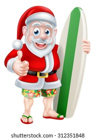 Cartoon of surfing Santa Claus holding a surf board and giving a thumbs up in his Hawaiian board shorts